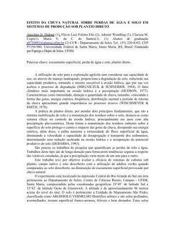EFEITO DA CHUVA NATURAL SOBRE PERDAS DE ÁGUA ... - UFSM