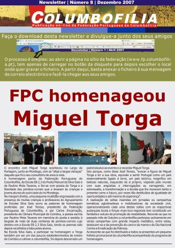 Dezembro 2007 - Federação Portuguesa de Columbofilia