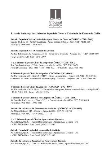 Lista de Endereço dos Juizados Especiais Cíveis e Criminais do ...