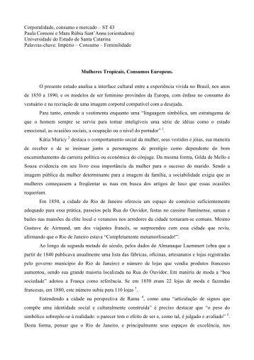 Mulheres Tropicais, Consumos Europeus - Fazendo Gênero 10