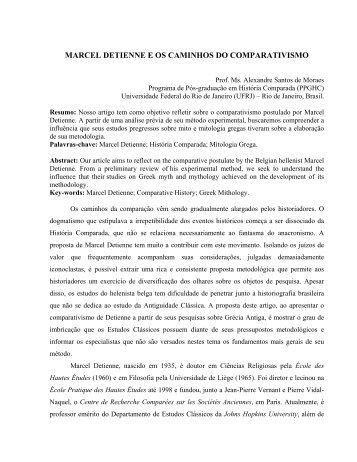 marcel detienne e os caminhos do comparativismo - Programa de ...