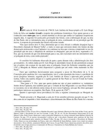 Capítulo 6 IMPEDIMENTO DO DESCOBERTO EM carta de 10 de ...