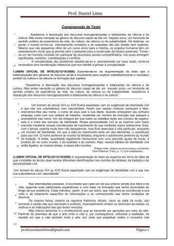Compreensão de Texto prof. Daniel Lima - Caminho das Pedras
