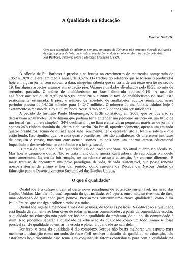 A Qualidade na Educação - Instituto Paulo Freire