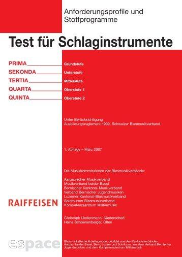 Test für Schlaginstrumente - Schweizer Blasmusikverband