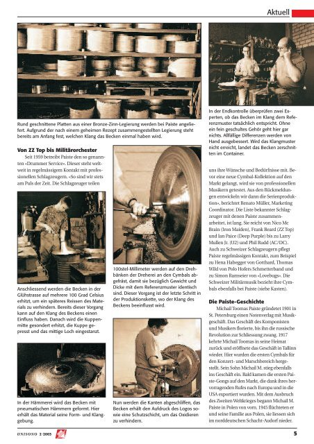 Nottwil – das Cymbal-Mekka Seite 4 Intégration des jeunes: un ...