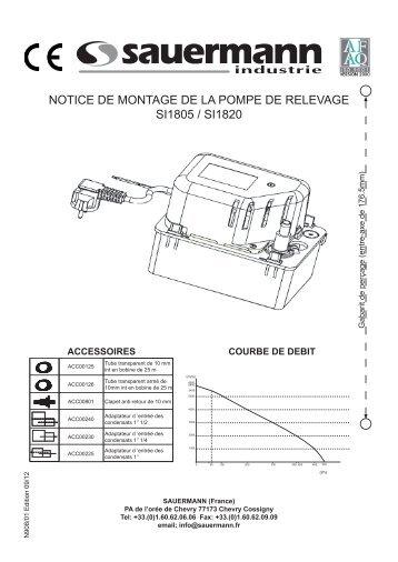 notice de montage de la pompe de relevage si1805 / si1820