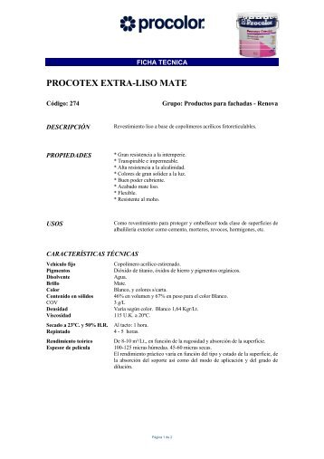 PROCOTEX EXTRA-LISO MATE - Suexpal SL