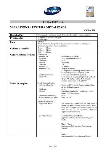 VIBRATIONS – PINTURA METALIZADA - Bruguer