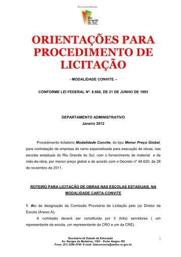 orientações para procedimento de licitação - Secretaria da Educação