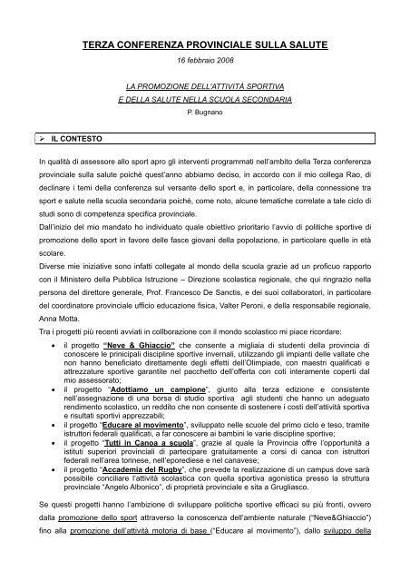 La Promozione Dell Attivita Sportiva E Della Salute Provincia Di Torino