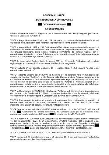 Delibera 1/12/CRL - Corecom Lazio