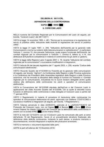 1 DELIBERA N. 69/11/CRL DEFINIZIONE DELLA ... - Corecom Lazio