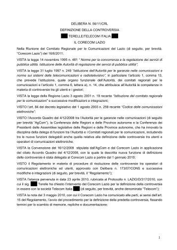 Delibera 56/11/CRL - Corecom Lazio
