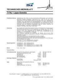 TECHNISCHES MERKBLATT T-FAL Lippe-Gewebe - 3ks profile gmbh