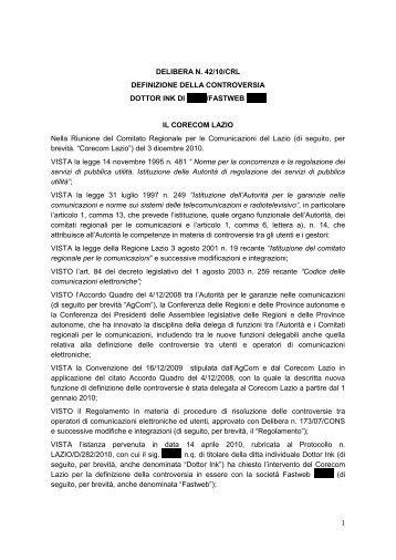 42/10/CRL - Corecom Lazio
