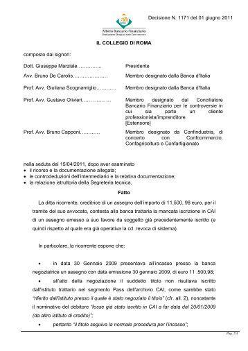 Decisione n. 1171 del 1 giugno 2011 - Arbitro Bancario Finanziario