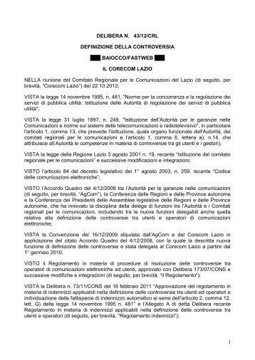 DELIBERA N - Corecom Lazio