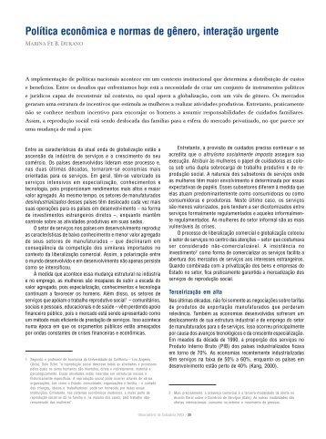 Política econômica e normas de gênero, interação ... - Social Watch