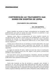 contribuição ao tratamento das dores em doentes de lepra