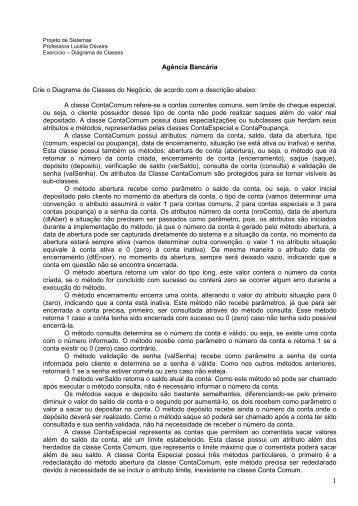 Exercícios - Diagrama de Classes - Professora Lucélia Alves de ...