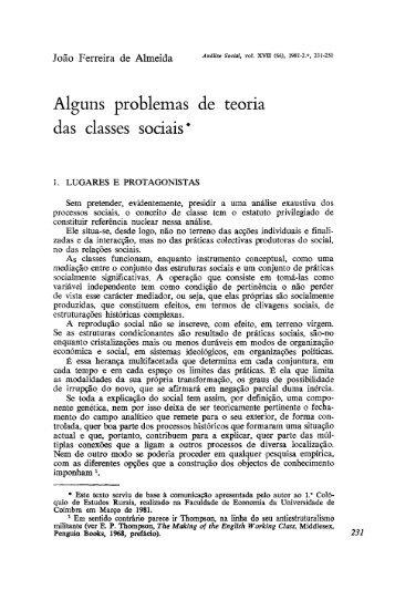 Alguns problemas de teoria das classes sociais* - Análise Social