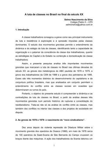 A luta de classes no Brasil no final do século XX - Rede de Estudos ...
