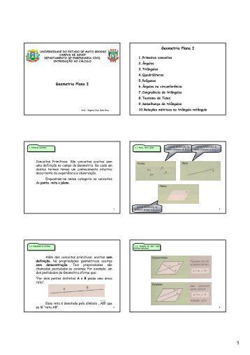 aula 16 - geometria plana i - 6 slides por - Unemat