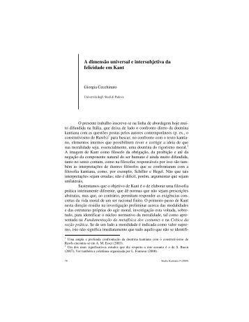 A dimensão universal e intersubjetiva da felicidade em Kant