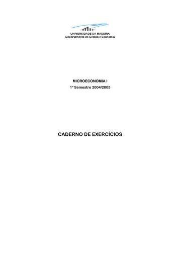 CADERNO DE EXERCÍCIOS - Universidade da Madeira