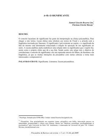 A=D: O SIGNIFICANTE - Psicanálise & Barroco