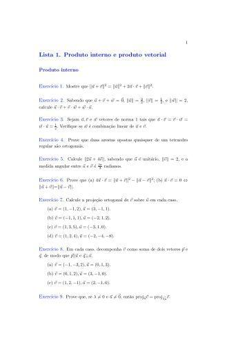Lista 1. Produto interno e produto vetorial
