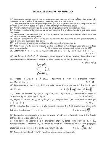 Listas de Exercícios de Geometria Analítica