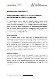 Raiffeisenbank Jungfrau und die Schweizer Jugendherbergen bauen