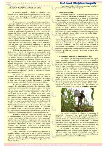 1. AS NOVAS RELAÇÕES CIDADE X CAMPO A ... - Instituto Qualific