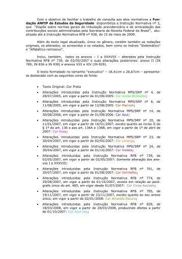 IN nº 3, de 14.07.2005, atualizada até a IN RFB ... - Fundação ANFIP