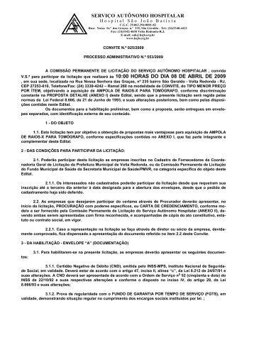 serviço autônomo hospitalar - Prefeitura Municipal de Volta Redonda