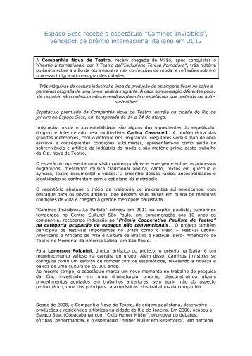 """Espaço Sesc recebe o espetáculo """"Caminos Invisibles"""" - Consulado ..."""