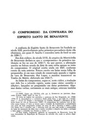 o compromisso da confraria do espírito santo de benavente