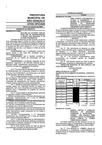 PREFEITURA MUNICIPAL DE SÃO GONÇALO ATOS OFICIAIS