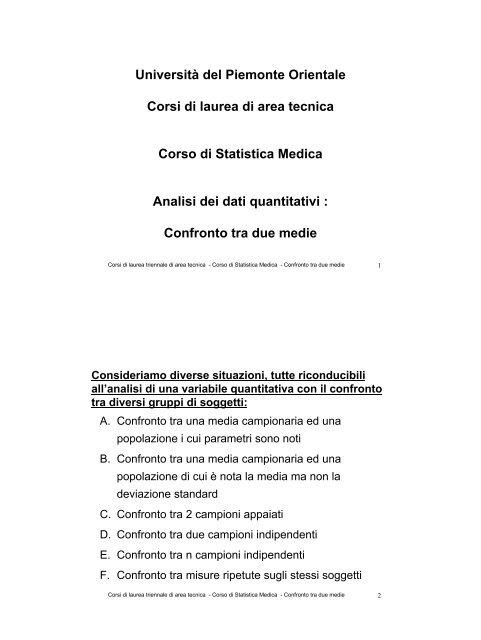 Confronto tra la media - Università del Piemonte Orientale