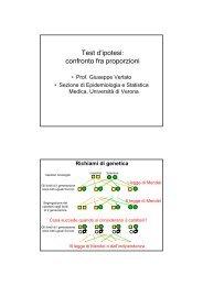Test d'ipotesi: confronto fra proporzioni - Sezione di Epidemiologia ...
