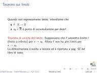 Teoremi sui limiti - Matematica
