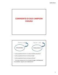 confronto di due campioni casuali - Università degli Studi della ...