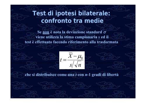 Test di ipotesi Confronto tra medie e proporzioni