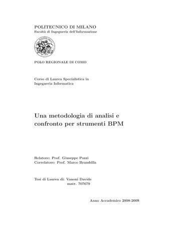 Una metodologia di analisi e confronto per strumenti BPM