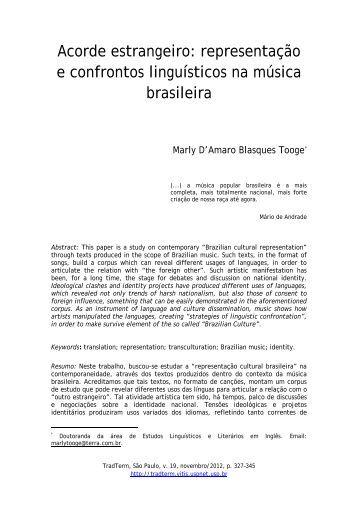 representação e confrontos linguísticos na música brasileira - USP