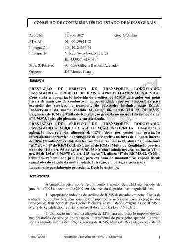 18800102ª - Secretaria de Estado de Fazenda de Minas Gerais