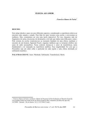 ELEGIA AO AMOR - Psicanálise & Barroco
