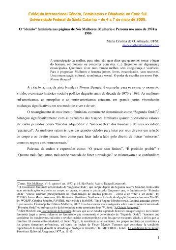 Colóquio Internacional Gênero, Feminismos e Ditaduras no Cone ...